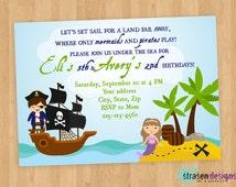 Pirate Mermaid Birthday Invitation Printable DIY