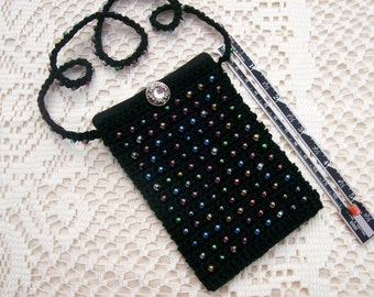 Beautiful little black beaded bag Black amulet bag fairy dust necklace with glass beads
