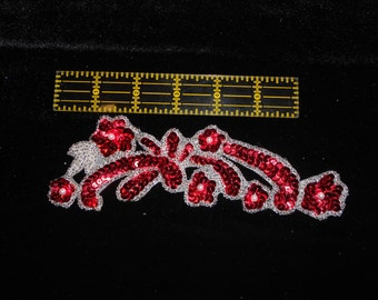 Red Sequin Applique Silver Beaded Sew-On Applique