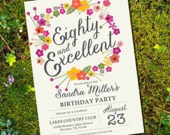 Floral Eightieth Birthday Invitation - 80th birthday invitation - FREE RSVP Card - Instant Download & Edit with Adobe Reader- Print at Home!