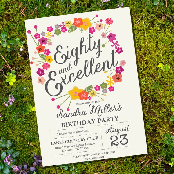 Floral Eightieth Birthday Invitation - 80th birthday ...