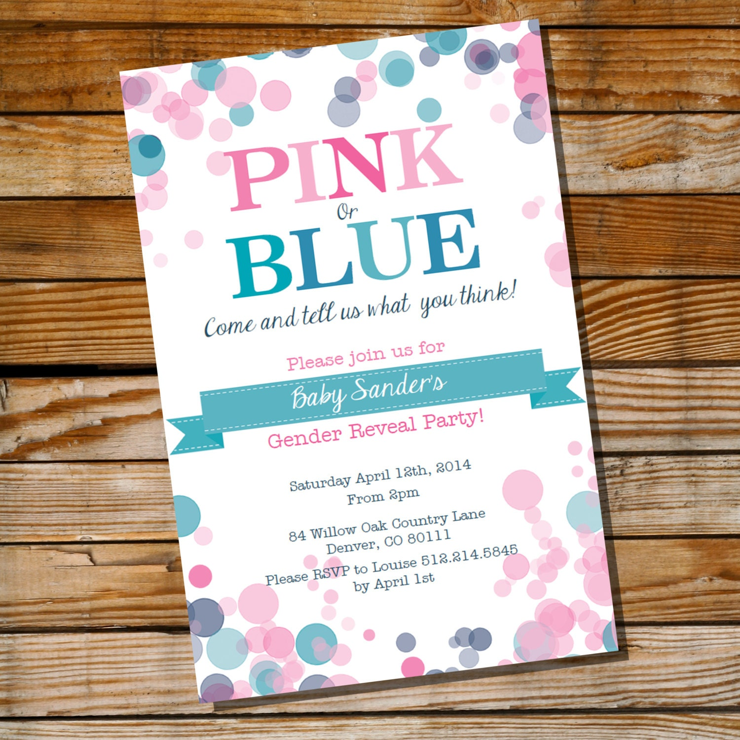 Baby Shower Reveal Party: Gender Reveal Party Invitation Pink Or Blue Instantly