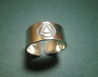 AA recovery Logo ring   solid sterling silver  not plated