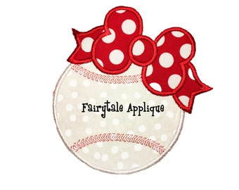 Digital Machine Embroidery Design - Baseball with Bow Applique