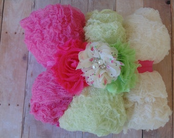 Set of Three Photography Cheesecloth wraps and Tripple Rosette  Headband Sets.Photo Props..   PHOTOGRAPHY Wraps.