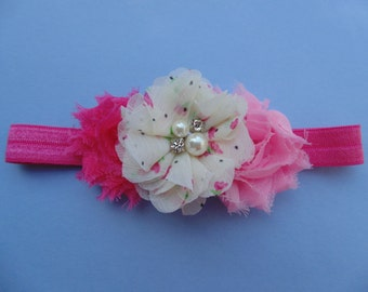 Tripple Shabby Chic headband. ...Baby Bows...Photography Props...