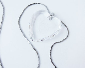 Vintage Crystal Heart Pendant LOVE with chain