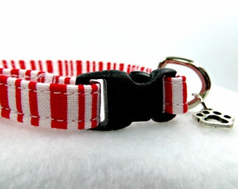 Red and White Cat Collar, Candy Stripe Cat Collar, Christmas Cat Collar, Holiday Cat Collar