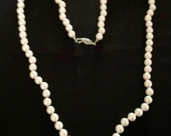 Vintage Long White Pearl Necklace. ( Knotted)
