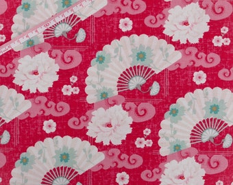 "Tilda Chinese Fan Red Fabric / ""Christmas Play"" Quilt Collection - Fat Quarter / 50 cm x 55 cm"