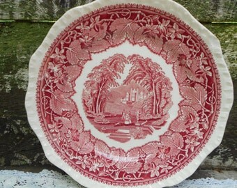 "Mason's Vista Dinner Plate-  10 5/8"" Red Transferware Dinner Plate, Serving, Wall Decor, Holiday, English Transferware"