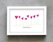Love flowers art print, love message wall art, fuchsia art print , wall decoration