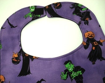 SALE Halloween Monsters Baby Bib: Frankenstein, Pumpkin Head, Zombies, Witches.