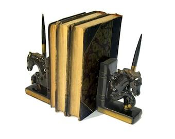 Bookends, Vintage, Home Decor, Desk Set, Horses, Porcelain, Black, Gold