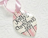 Baby's First Christmas Ornament in Pink or Blue