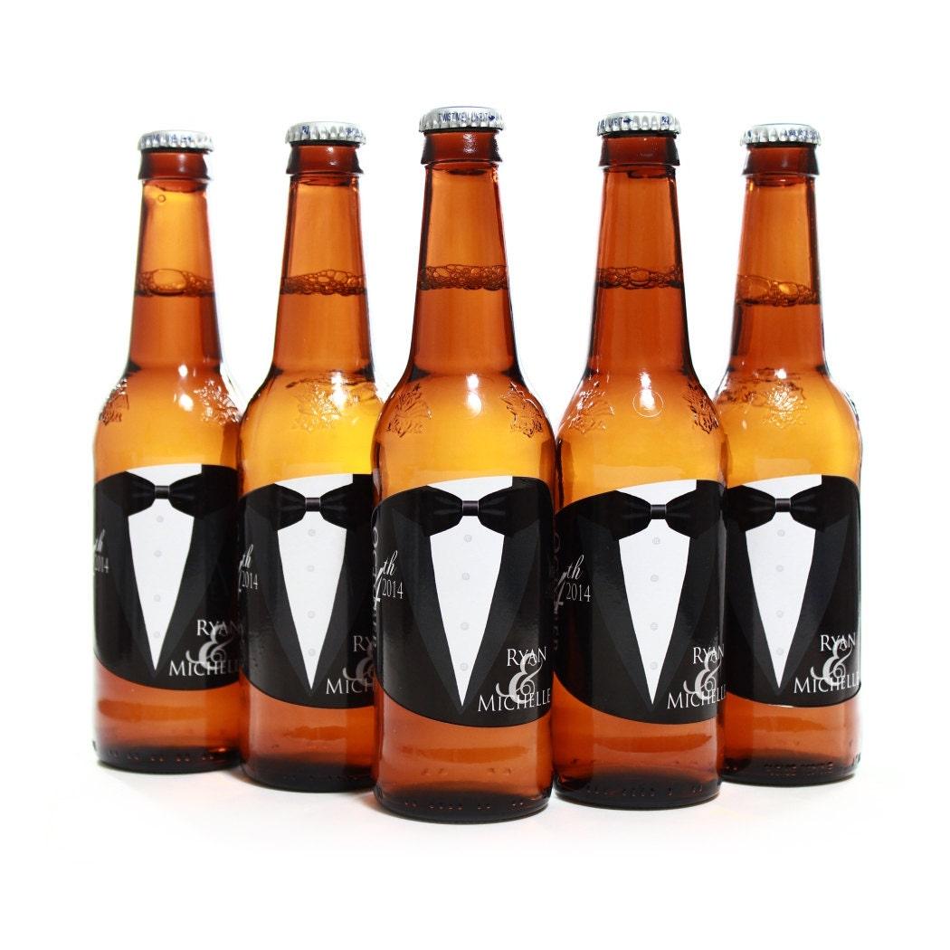 Custom beer bottle labels personalized tuxedo labels for bud for Custom beer labels and caps