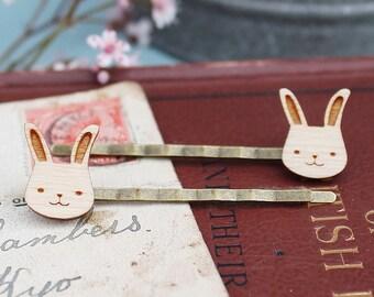 Laser Cut Wooden Bunny Rabbit Hair Grips