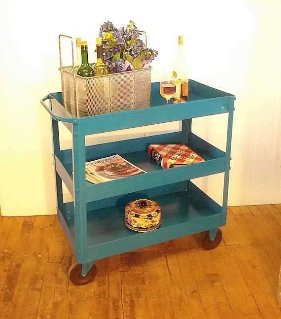Factory Utility Cart: Metal Cart Blue Paint Bar Cart Garden Cart Refurbished Vintage