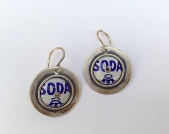 Vintage Sterling Silver Soda Cap Earrings marked 925