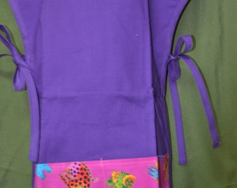 Child's Garden Apron in Purple and Bright Animal Print