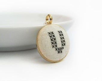Holidays Gift For Her. Initial Cross Stitch Pendant, Handmade.