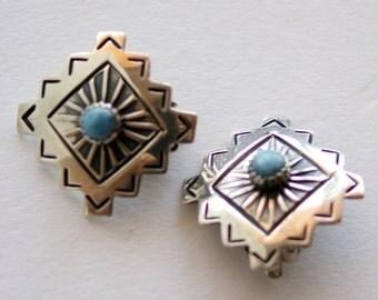 Vintage Navajo Indian Native American Joe Delgarito Sterling Silver Lapis Clip Earrings