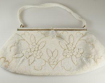White Beaded Purse, Vintage Dormar Belgium White Micro Seed Bead Glass Pearl Beaded Purse Bag