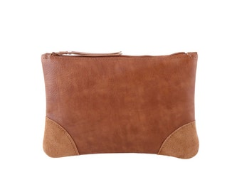 Brown Leather cosmetic bag - Leather clutch bag - Women makeup bag - Soft leather - Zipper pouch