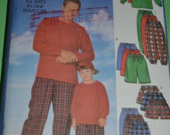 Butterick 5286 Father and Son Top Shorts and Pants Sewing Pattern - UNCUT -Mens Sizes S- XL and Childs Sizes XS - L