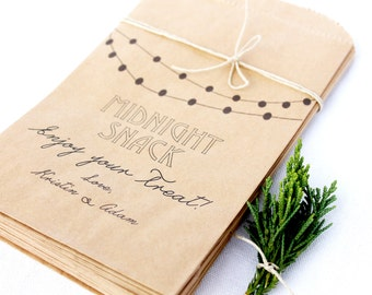 25 Customized Wedding Candy Bar Bags with Midnight Snack Detail, Wedding Favor Bags