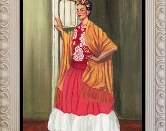 Frida Standing in a Doorway | Framed Original Oil Painting of Frida Kahlo