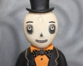 Skelly Man Skeleton doll EHAG Spooky Halloween Primitive Folk Art Original