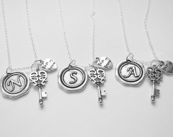 3 Best Friends Are The Key To My Heart Wax Seal Initial  Necklaces Bff