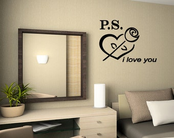 Wall Quotes PS I love you Vinyl Wall Decal Quote Removable Wall Sticker Home Decor vinyl art mural (K2)