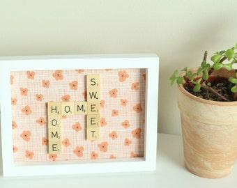 Scrabble Inspired Wall Art Frame Home Sweet Home, Scrabble Inspired Word Art, Fabric Art, Scrabble Inspired Gift