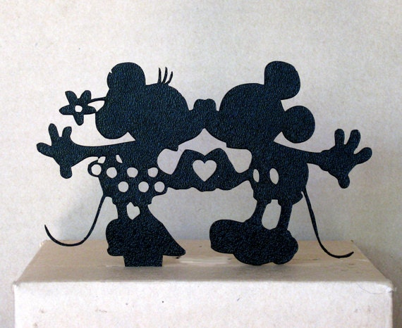 mickey and minnie silhouette wedding cake topper wedding cake topper minnie and mickey in silver reserved for 17345