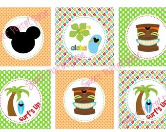 Tiki Birthday - Luau - Cupcake Toppers -Luau Birthday - Luau Party Printable -PDF - INSTANT DOWNLOAD