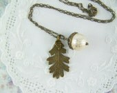 Acorn Necklace, Pearl Acorn, Bronze Oak Leaf Necklace, Acorn Cap, Oak Tree, Lace Pearl, Cream Pearl Acorn, Bronze Acorn, Leaf Necklace