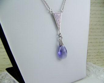 Tanzanite Crystal Necklace, Lavender Teardrop Necklace, Tanzanite Faceted Briolette, Tanzanite Necklace, February Birthstone, Purple Crystal
