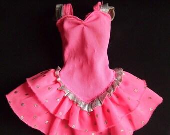 Vintage Pink & Silver Barbie Dress w/a Polka Dot Ruffled Skirt