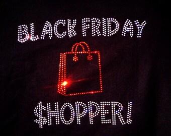 Black Friday Shopping Rhinestone bling Glitter Shirt