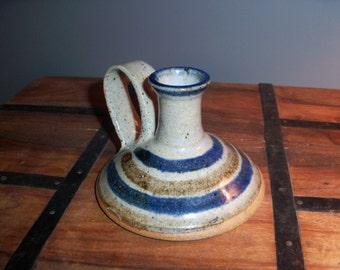 1985 Stoneware Chamberstick Holder