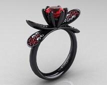 14K Black Gold 1.0 Ct Rubies Diamond Nature Inspired Engagement Ring Wedding Ring R671-14KBGDR