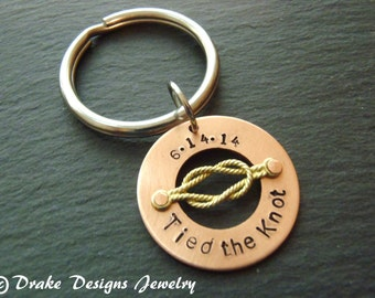 Tie the knot Personalized 7th anniversary gifts Tied the Knot keychain Copper anniversary gift