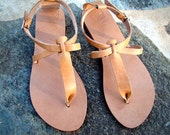 Leather sandals women flat sandals greek genuine leather natural color and other colors available