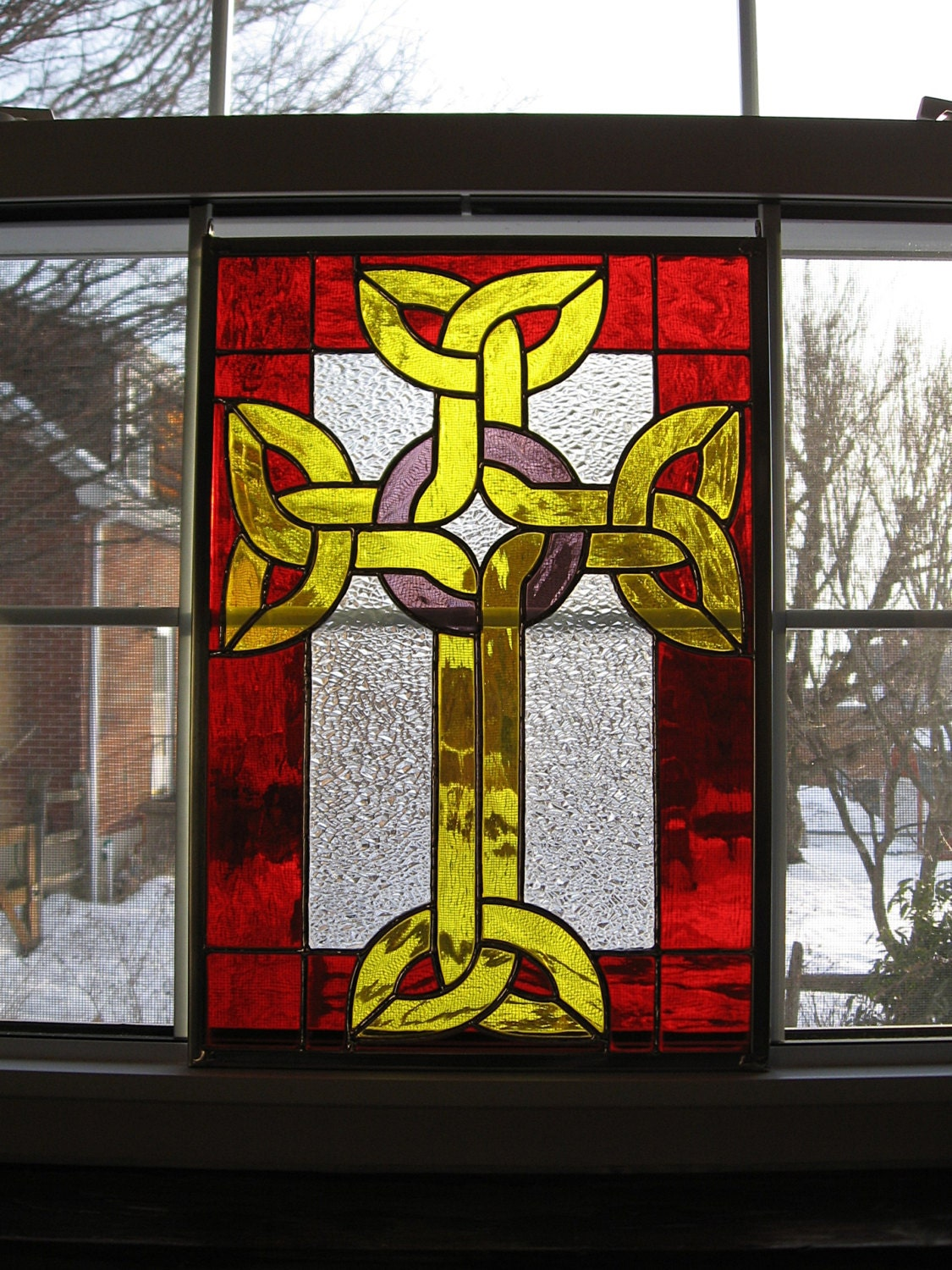 Celtic Cross Stained Glass Window Panel Stained Glass Cross