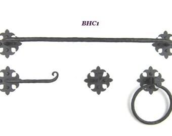 BHC Rustic Spanish style wrought iron bathroom hardware combo set