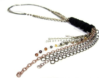 leather lariat necklace - lariat chain necklace - tri-toned metal - handmade by RockinLola