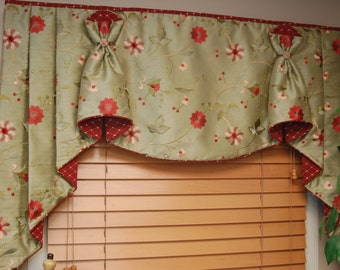 "Custom Valance Hidden Rod Pocket with jabots BUNNY NO EARS fits 67""- 90"" window, Made to order using your fabrics, my labor and lining"