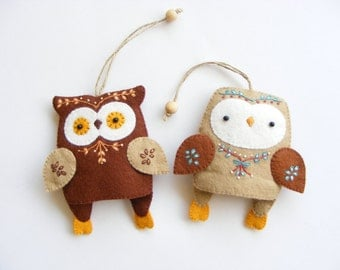 PDF pattern - Owl key rings - Two felt owls key rings, easy sewing pattern, DIY hand sewing project